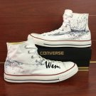 Original Design Water Drops White Converse Shoes High Top Hand Painted Canvas Sneakers