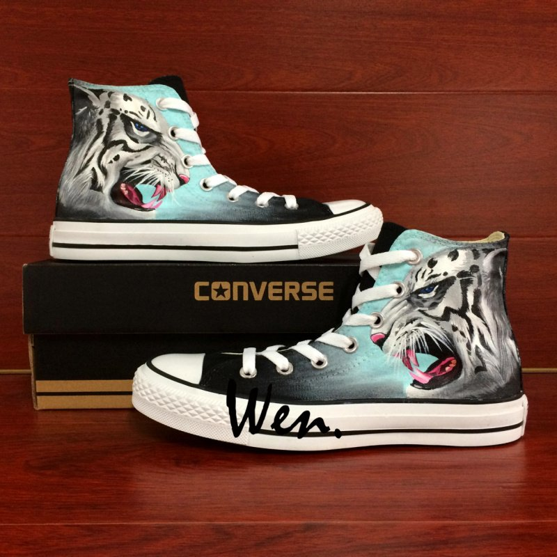 Original Converse All Star Custom Design Leopard Hand Painted Shoes Men Women Canvas Sneakers