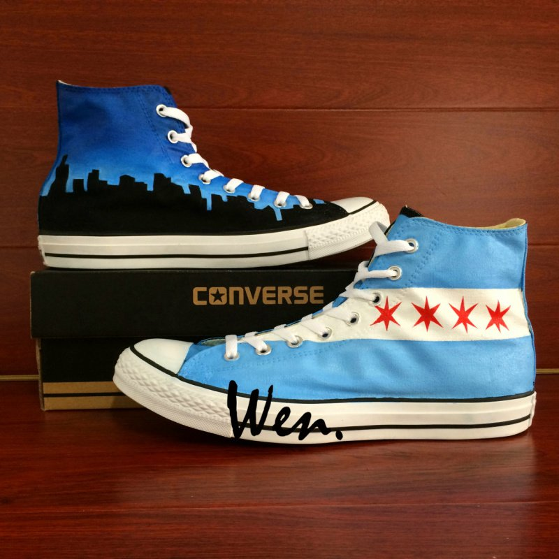 Design USA Chicago Flag City Skyline Hand Painted Shoes Unisex Converse Chuck Taylor
