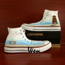 Elephant Original Design Hand Painted Shoes Man Woman High Top White Converse All Star