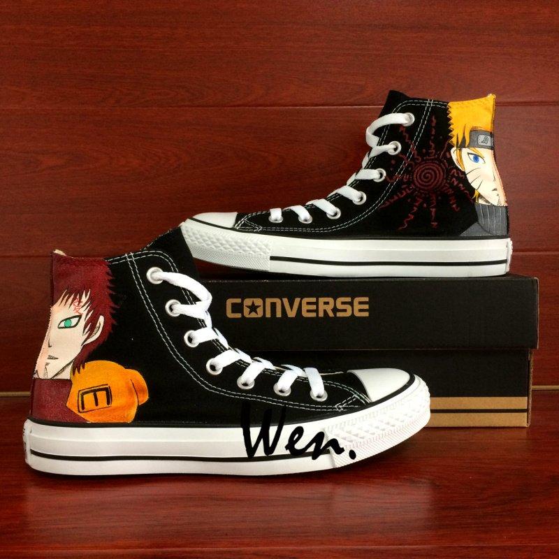 Naruto Uzumaki Naruto Gaara Anime Converse All Star Canvas Sneakers Hand Painted Shoes for Man Woman