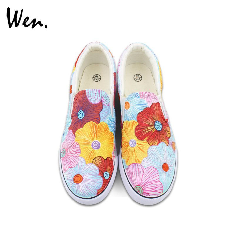 Wen Colorful Flowers Original Hand Painted Slip On Canvas Shoes for Men Women Sneakers