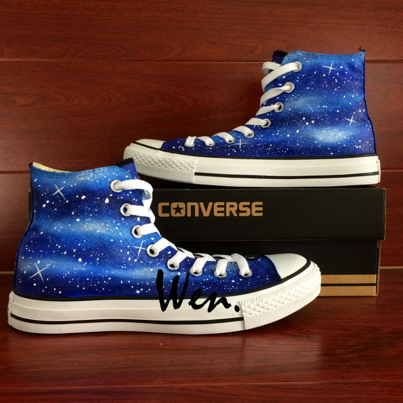 Original Hand Painted Galaxy Shoes for Man Woman Design Nebular Stars High Top Converse All Star
