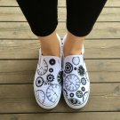 Wen Time Gears Hand Painted Slip On Shoes Original Design White Canvas Sneakers