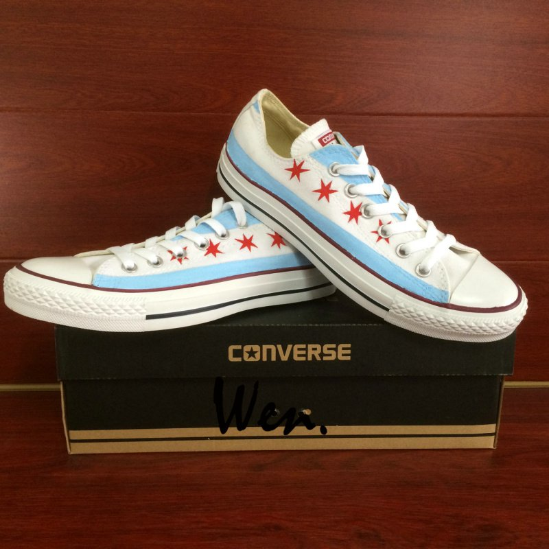 Original Converse All Star Chicago Flag Custom Design Hand Painted Canvas Shoes for Man Woman