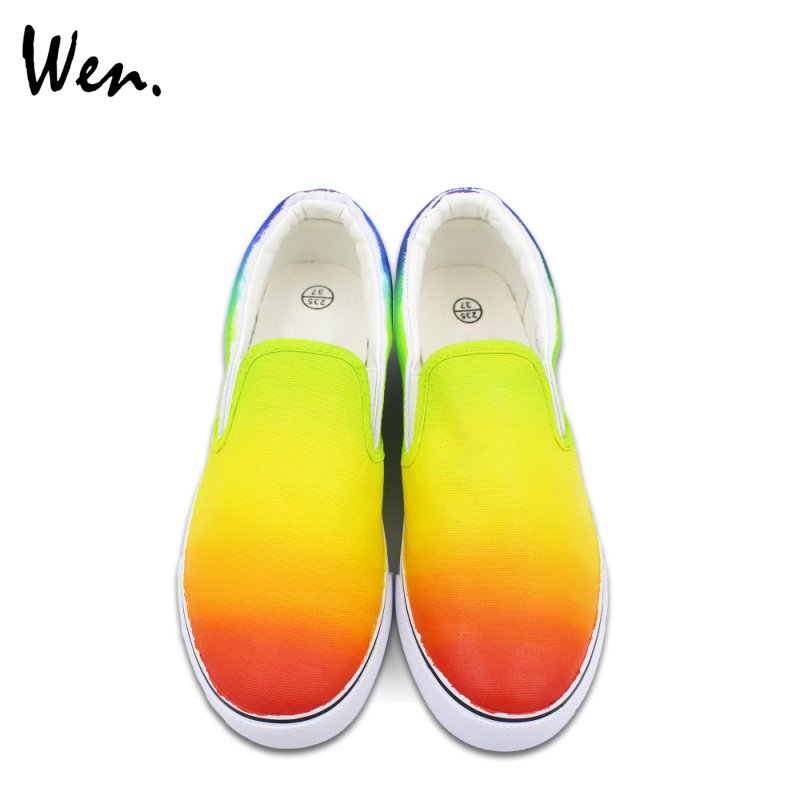 Wen Gradient Color Change Hand Painted Shoes Slip on Canvas Sneakers for Man Woman