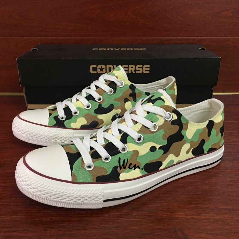 Design Army Camouflage Pattern Low Top Shoes Hand Painted Converse All Star