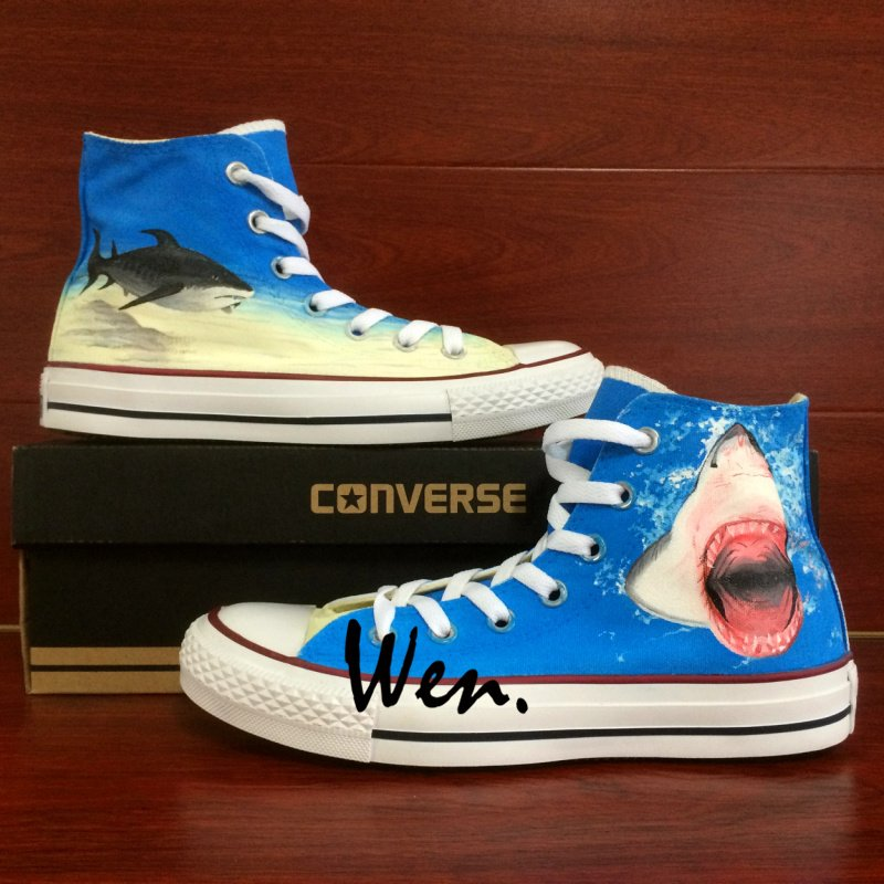 Ocean Shark Custom Design Converse All Star Shoes Hand Painted Canvas Sneakers