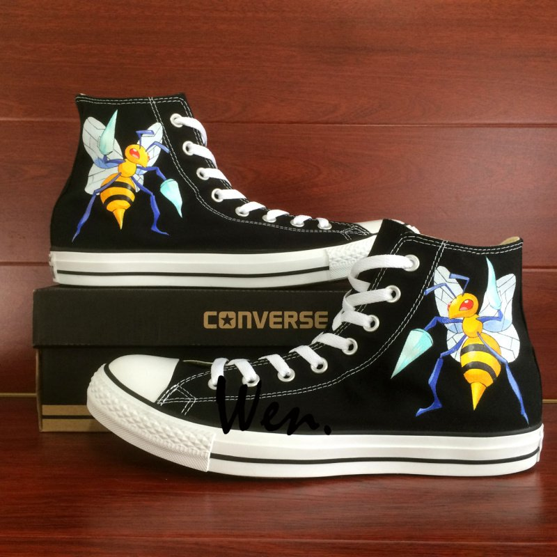 Design Anime Hand Painted Canvas Shoes Pokemon Beedrill Honeybee Bee Converse Sneakers