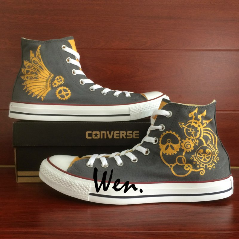 Custom Design Hand Painted Shoes Men Women's Converse All Star Steampunk Canvas Sneakers