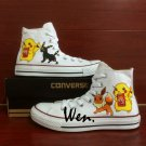 Custom Design Anime Converse Shoes Pokemon Pikachu Eevee Umbreon Hand Painted Canvas Sneakers