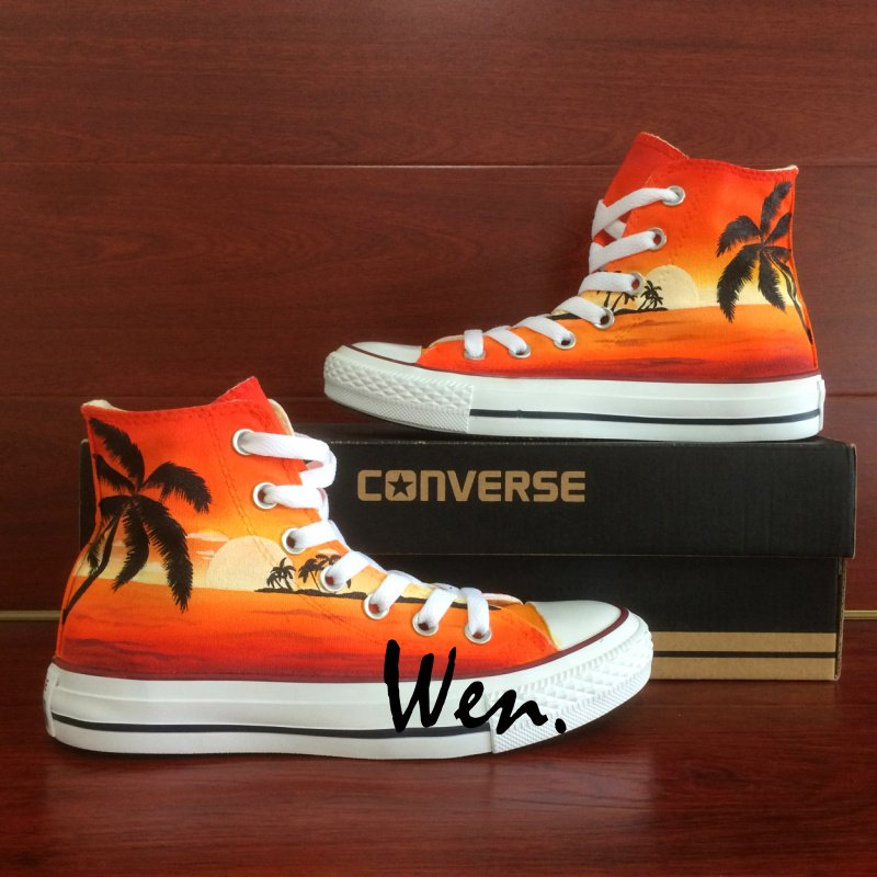 Custom Design Coconut Palm Tree Seaside Sunset Hand Painted Shoes Converse Canvas Sneakers