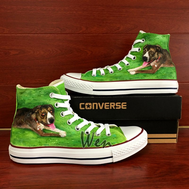 Custom Design Pet Dog on Grass Hand Painted Shoes Converse Canvas Sneakers