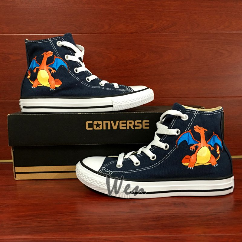 Blue Converse Shoes Custom Design Pokemon Charizard Anime Hand Painted Canvas Sneakers