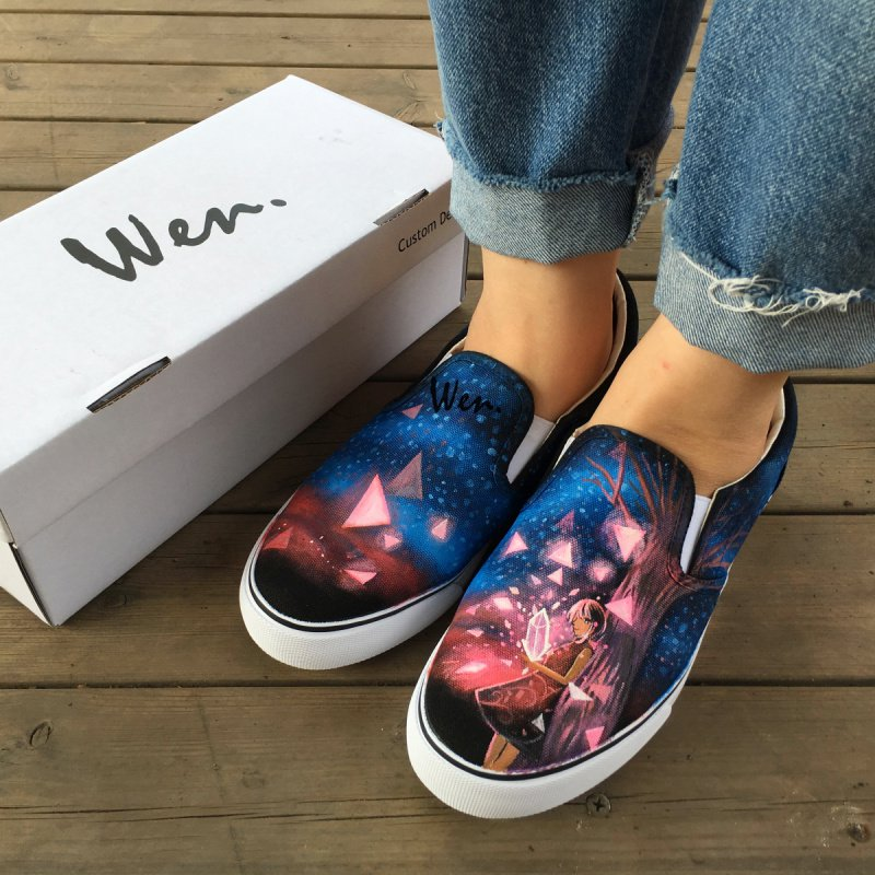 Wen Hand Painted Shoes Mens Womens Canvas Sneakers Design Girl Diamond Pattern