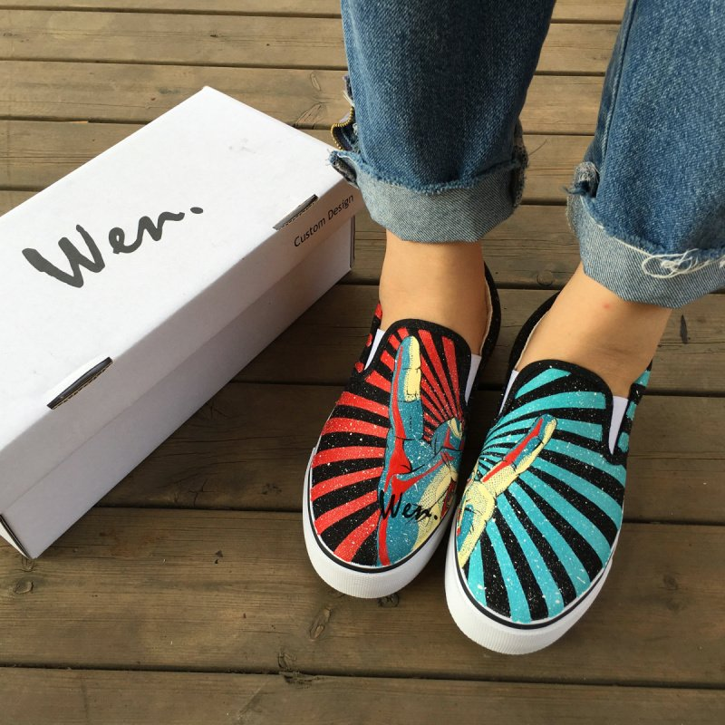 Wen Rock and Roll Gesture Red Blue Stripes Design Hand Painted Canvas Shoes Slip on Sneakers