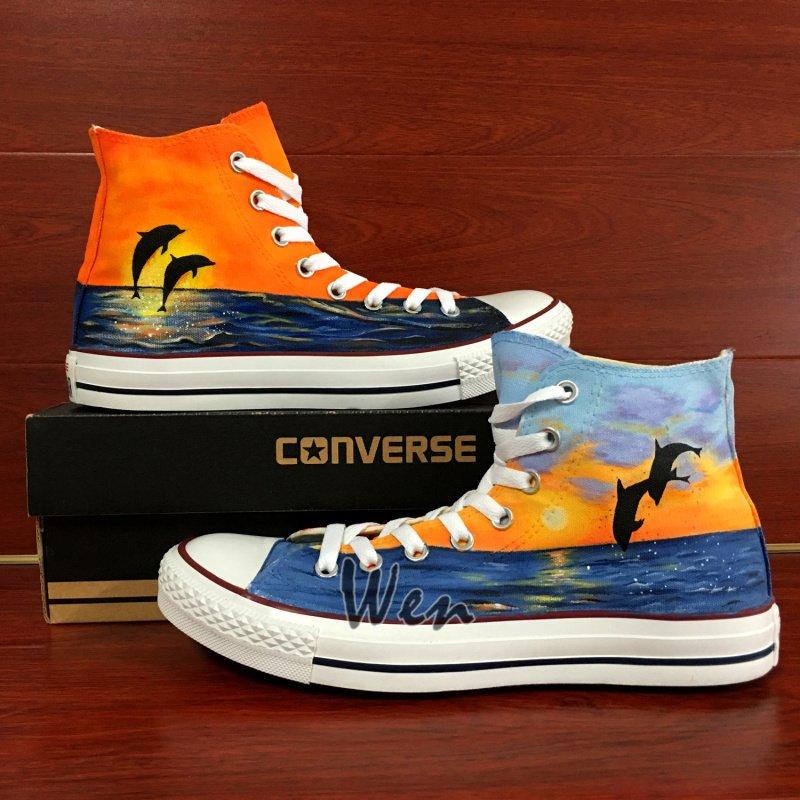 Original Design Dolphins Ocean Sunset Hand Painted Shoes Unisex High Top Converse