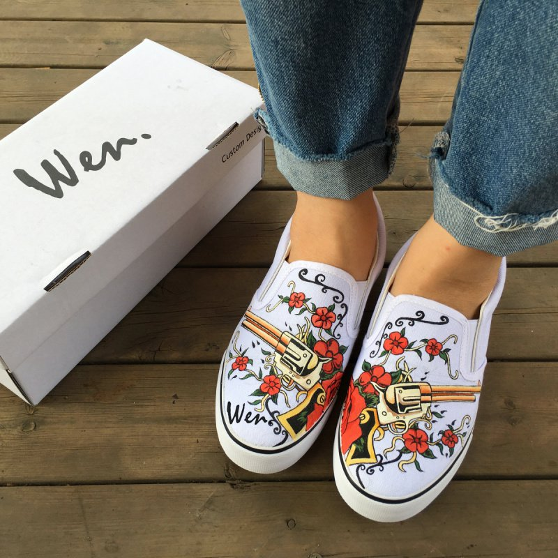 Wen Slip on Shoes Design Gun Revolver with Flowers Hand Painted Canvas Sneakers