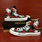 Original Design Skulls Red Roses Flowers Hand Painted Shoes Unisex Canvas Sneakers