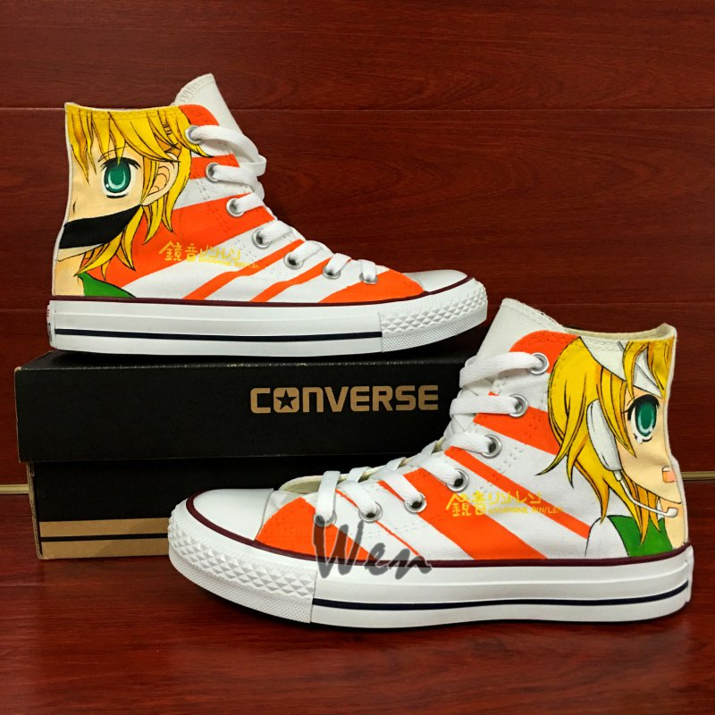 Design Anime Sneakers Hand Painted Canvas Shoes Kagamine Rin/Ren Converse All Star
