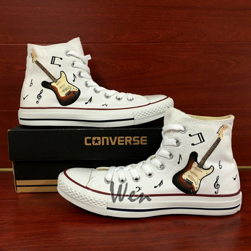 Custom Design White Converse Shoes Hand Painted Guitar Music Notes High Top Canvas Sneakers