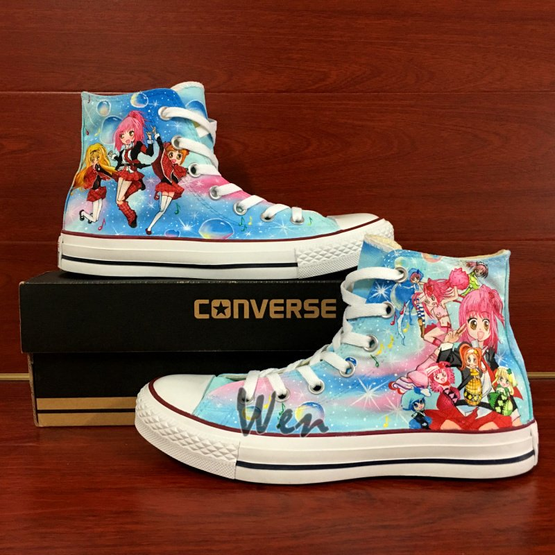 Hand Painted Shoes Anime Shugo Chara Design Converse All Star Women Canvas Sneakers
