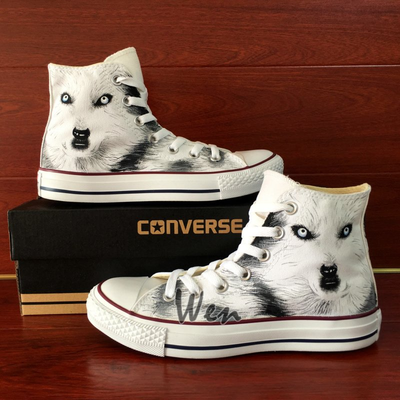 Wolf Hand Painted Canvas Shoes Custom Design White High Top Converse Chuck Taylor