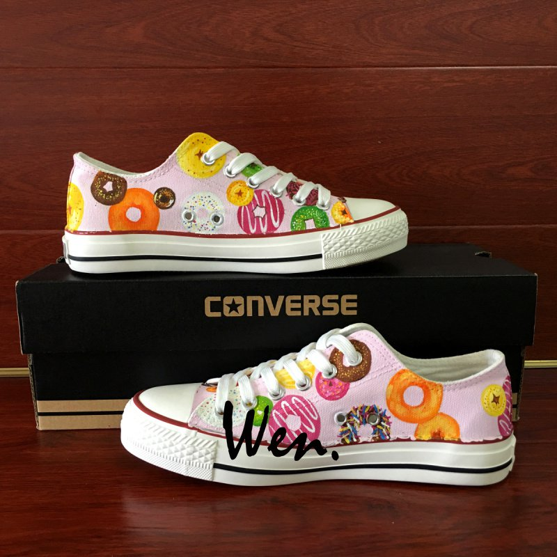 Dessert Colorful Donuts Original Design Hand Painted Converse Shoes Low Top Canvas Sneakers