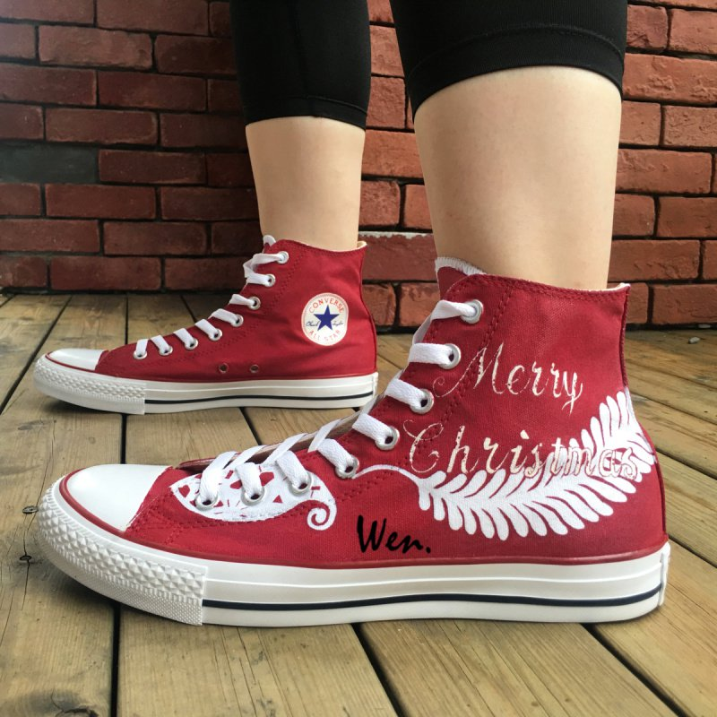 Original Design Converse Shoes Christmas Pattern Wings Hand Painted Shoes Man Woman Canvas Sneakers