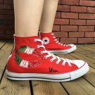 Italy Flag Design Hand Painted Converse All Star Shoes High Top Canvas Sneakers