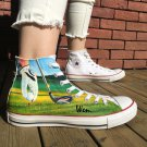 Custom Design Golf Grass Converse Shoes for Man Woman Hand Painted Canvas Sneakers