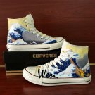 Converse All Star Shoes Men Hand Painted Shoes Canvas Sneakers Design Ukiyoe Wave