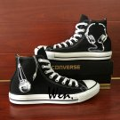 Microphone Earphone Black Shoes Pure Hand Painted Sneakers Unisex Converse All Star