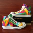 Colorful Feather Original Design Hand Painted Shoes Converse All Star Canvas Sneakers for Men Women