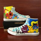 Hand Painted Anime Shoes Pokemon Pikachu Canvas Sneakers High Top Converse Chuck Taylor