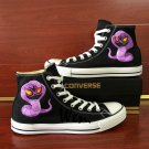 Unisex Converse Shoes Hand Painted Anime Pokemon Arbok High Top Black Canvas Sneakers