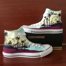 Original Converse Hand Painted Shoes Design Santa Sunset Coconut Tree Unisex Sneakers