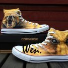 Design Hand Painted Animal Shoes Original Converse Brown Bear Canvas Sneakers All Star