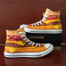 Original Design Hamburger Hand Painted Canvas Shoes Unisex Converse High Top Sneakers