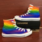 Rainbow Color Hand Painted Converse Shoes Gradient Change Color Design Canvas Sneakers