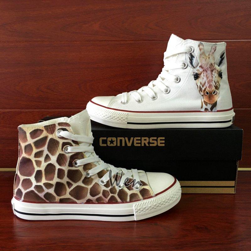 Men Women's Original Converse Shoes Design Giraffe Hand Painted Canvas Sneakers