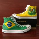 Brazil Flag Hand Painted Shoes Design Bird Green-Winged Macaw Converse All Star Sneakers