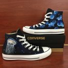 Jellyfish Hand Painted Black Canvas Sneakers Original Design Graffiti Shoes Converse