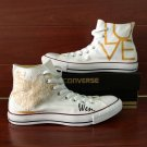 White Converse Shoes Custom Design LOVE Pattern Hand Painted Canvas Sneakers