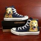 Blue Converse Shoes Hand Painted Pet Dog Golden Retriever Custom Design Canvas Sneakers