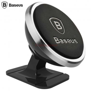 Mini magnetic stand strong suction car mount for mobile phones Brand Baseus Silver.