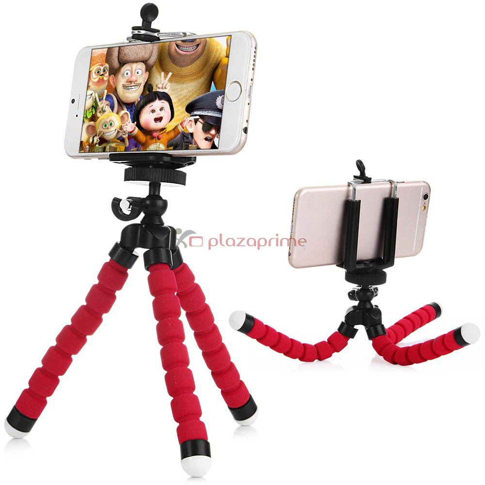 Octopus adjustable tripod holder Universal cell phone with mounting adapter Red