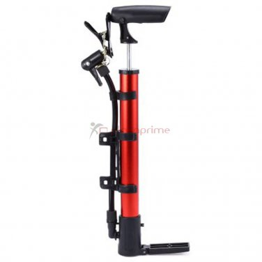 Portable air pump high pressure hand bicycle tire inflator Red.
