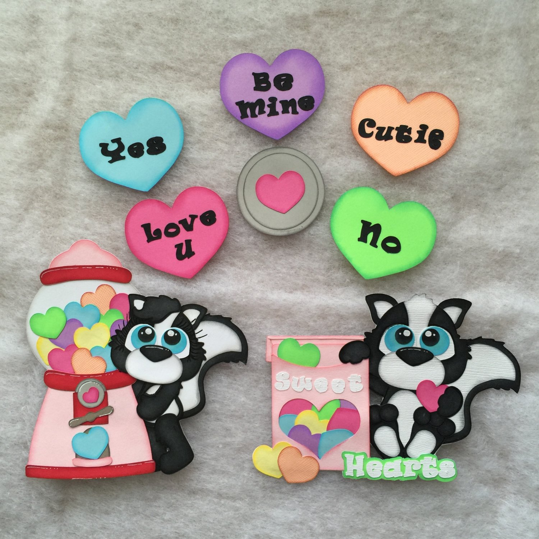 "Paper Pieced Die Cut ""Sweet Heart Skunk"" 8 pce.Embellishment Set"