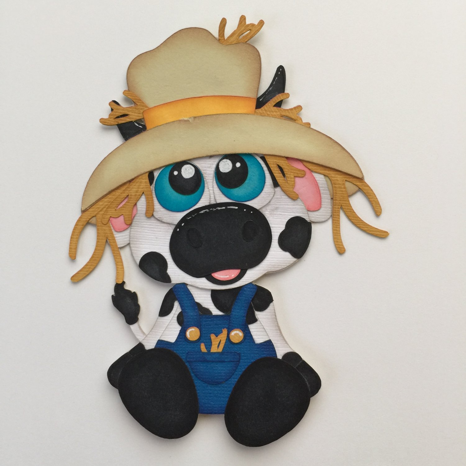 "Paper Pieced Die Cut ""Scarecrow Cow"" Embellishment"
